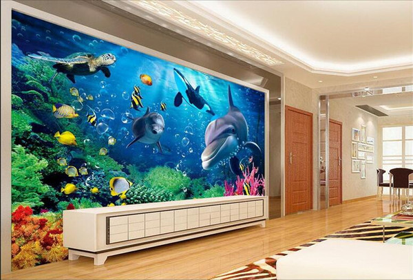 3d wallpaper custom photo Blue underwater world dolphin TV background wall living room Home decor 3d wall muals wall paper for walls 3 d