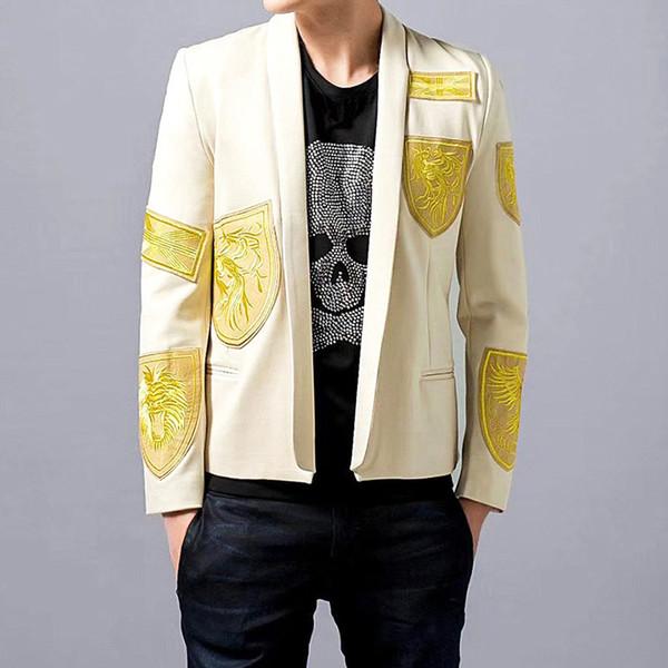 Fio de ouro Bordado Blazer Slim Fit Jaqueta Casaco Singer Moda Palco Terno Dos Homens Partido Terno Performer Casaco Traje Drama Blazer