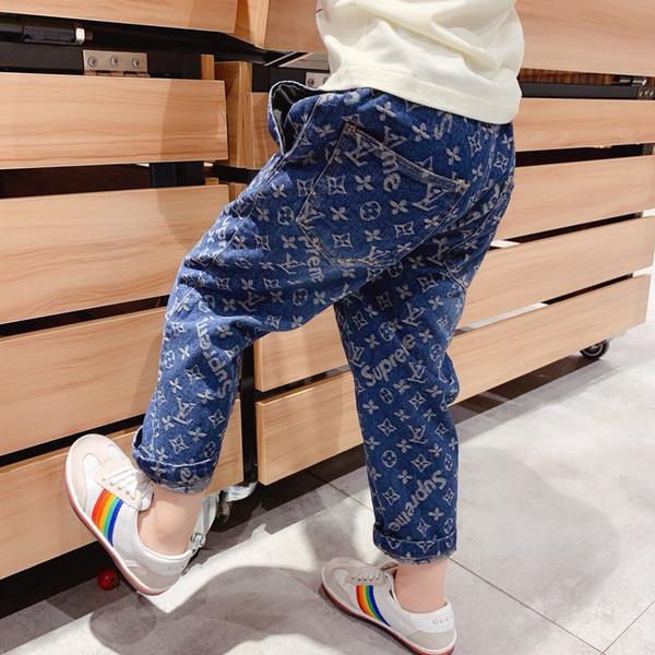Niños niñas Pantalones 2019 Otoño Niños Jeans Cintura Elástica Estirar Denim Ropa Niños Pantalones Para Niño Leggings