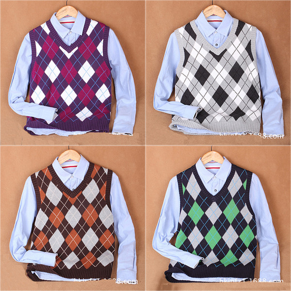 ( 3pcs=20% off ) Argyle Pattern Design V Neck Male Knitted Waistcoat Men Sleeveless Sweater Vest Purple Green Brown Yellow Brown