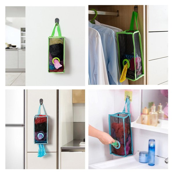 1PC Storage Bags Kitchen Hanging Type Breathable Mesh Grid Garbage Bags folding Storage Bag Convenient Extraction Pouch Bag Ja08