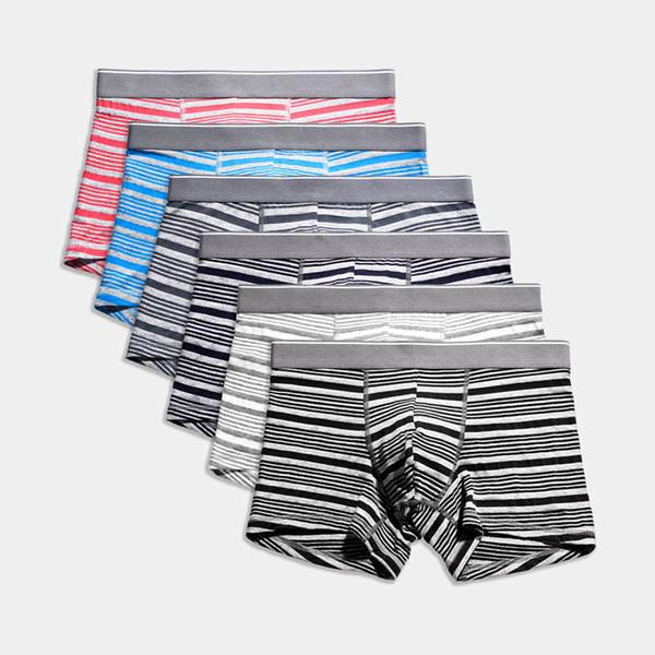 Summer Men Underwear Soft Modal Breathable Boxer Shorts Trunks Striped Underpants Plus Size Mens Boxers Pants 6pc M-4XL