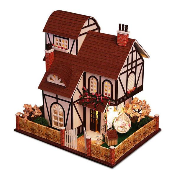 Holz Puppenhaus Möbel Kit Miniatur Garten Villa Puzzle Modus DIY Puppenhaus LED-Licht Kinder Kinder Weihnachten Geburtstagsgeschenk