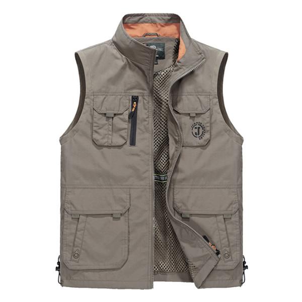 الرجال سترة الرجال تنفس صدرية متعددة جيوب سترة بلا أكمام سترة المشي لمسافات طويلة للماء في الهواء الطلق سترة زائد حجم الآسيوية الحجم L-6XL