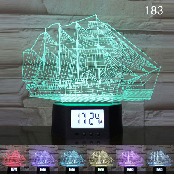 3D LED Night Light USB Charging Touch Remote Control Colorful Lights Bedroom Decoration Table Lamp 7 Colors Date Time Creative Gift A040