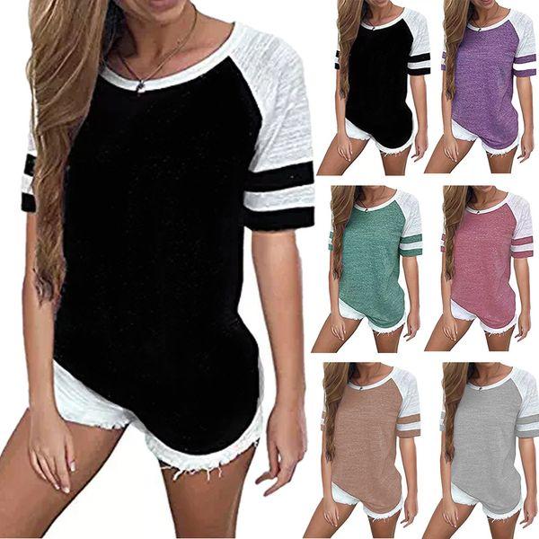 Mujeres Rayas Empalme Camiseta de béisbol Camiseta de manga corta O Cuello Camiseta de manga larga Camiseta combinada de maternidad Tops CCA11824 10pcs