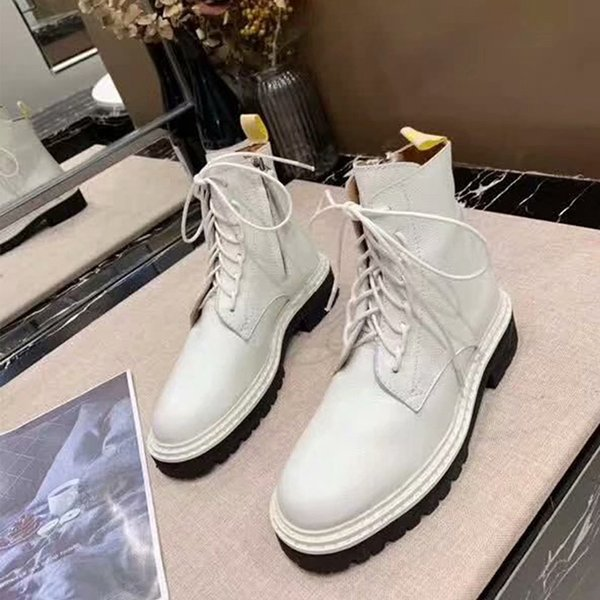 2019 Autumn And Winter Stars With The Same Paragraph Wine Red Martin Boots Femaler New Flat Bottom Thick With vintage Motorcycle Boots