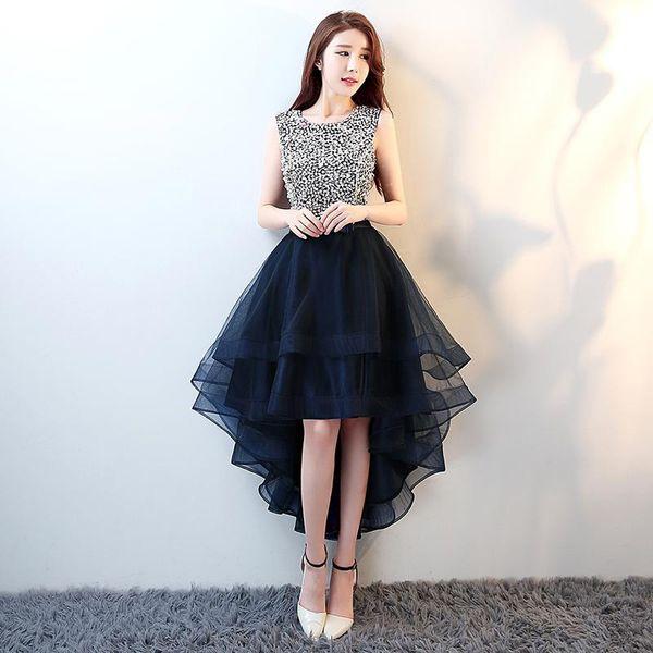 Compre Moda Con Gradas Una Línea Vestidos De Fiesta Cortos 2019 Sin Mangas Con Encanto Organza Hi Lo Elegantes Vestidos De Noche Vestido Formal A