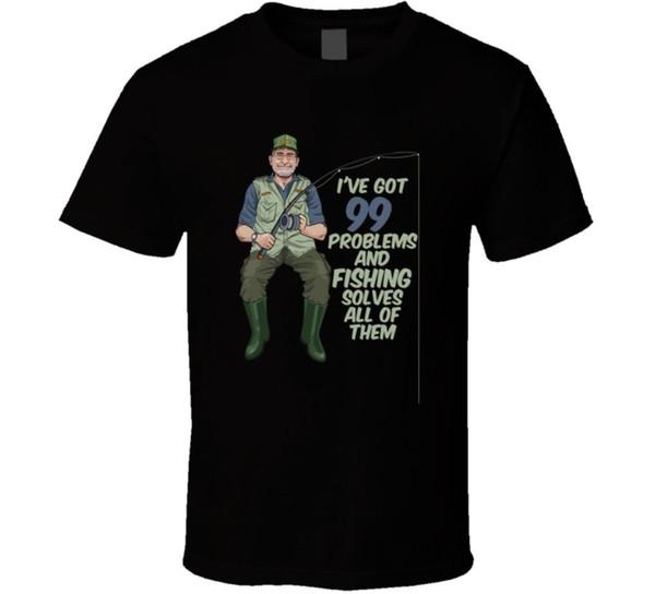 Ive получил 99 проблем и рыбалка решает все из них Забавный Спорт футболка размер discout горячая новая футболка