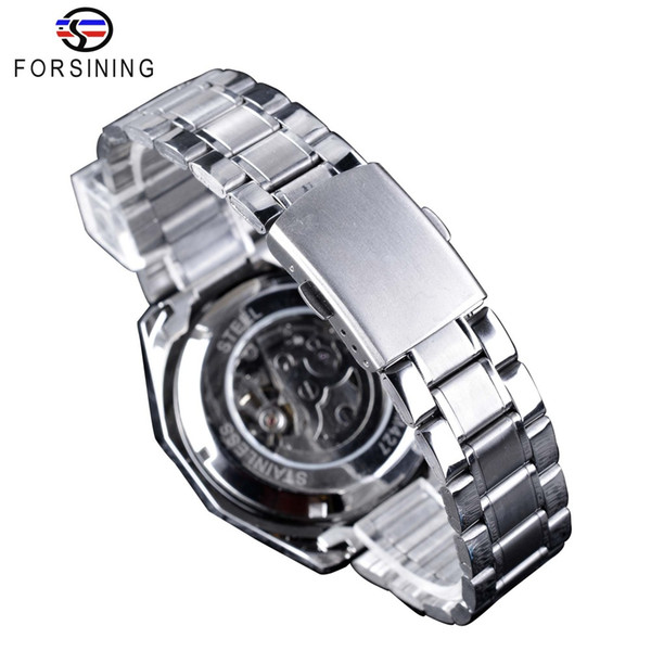 Forsining Silver Clock Skull Design Luminous Men's Automatic Watches Top Brand Luxury Mechanical Skeleton Wrist Watches Male