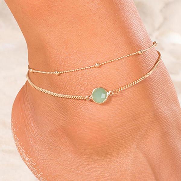 Doppelschichtigen einfachen Strass Fußkettchen Mode Strass eingelegten Perlen Fußkettchen Armband Lady Double Layer Fußkettchen Schmuck New Chic