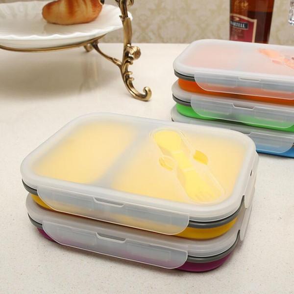 Boîtes à lunch en silicone pliables 2 grilles avec couvercles récipients de stockage des aliments avec cuillère fourchette étudiant bento boîte en plein air vaisselle portable
