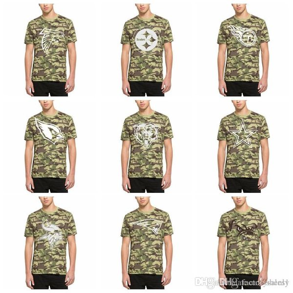 Cotton Hot sale NEW 2019 Men Steelers Shirts Vikings Patriots Browns Eagles Bears Cowboys Camo Alpha T-Shirt