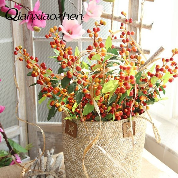 Qianxiaozhen 4 Branch Of Berry Artificial Flowers For Wedding Fake Flowers Bouquet Wedding Home Decoration