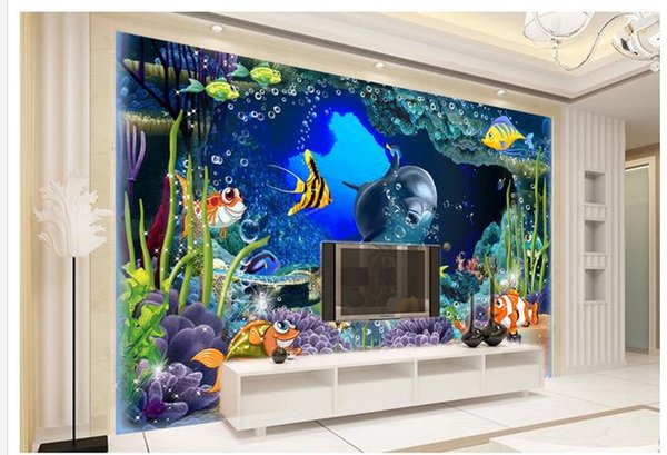 3D underwater world dolphin TV background wall decoration painting modern living room wallpapers