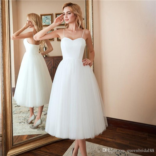 Simple A Line Wedding Dresses Sweetheart Sexy Spaghetti Tulle Tea Length Lace Up Back Summer Bridal Gowns cheap