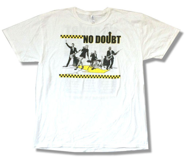 No Doubt Checkers North American Tour 2009 Camiseta blanca Nueva camiseta de manga corta suave oficial de algodón 100% camiseta superior