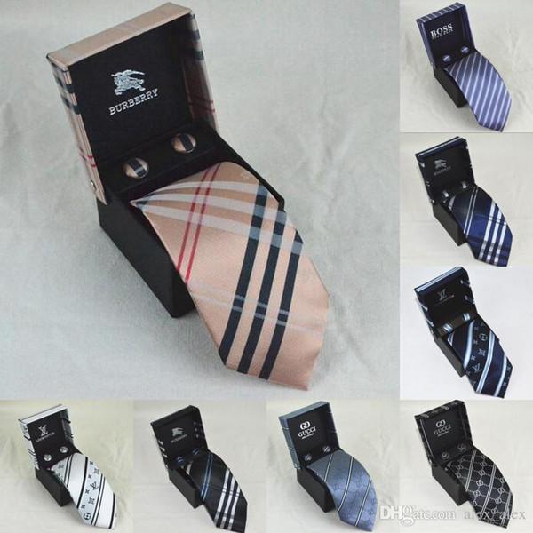 2019 nuovo progettista degli uomini cravatte di seta di moda Mens Neck Ties lussuoso lettera marchio cravatta con casella di Business Leisure per i regali liberano la nave