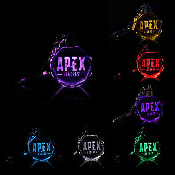 Apex Legends led kids toys props and classic gift Bottle keychain Cool metal crystal gem pendant Game Animation Accessories LED toy AAA1853