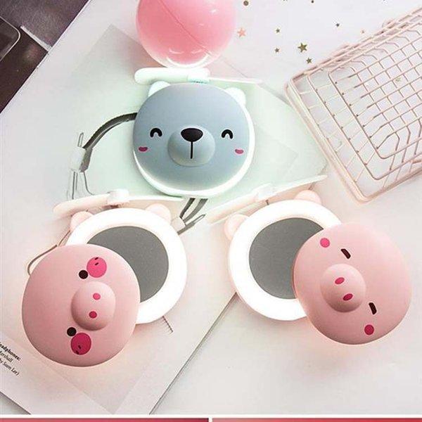 10 stilleri Domuz Fan Ayna Güzellik Taşınabilir Cep USB Şarj Mini El Fan Makyaj Aynası Ile LED Işık Küçük Fan Seyahat Hediye FFA2427