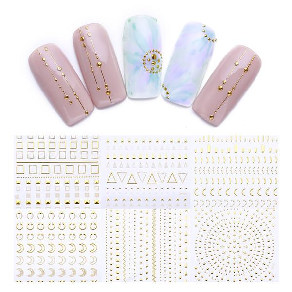 Geometric Patterns 3D Nail Sticker Decals Adhesive Moon Star Gold Stripes Wave Line Manicure DIY Nail Art Decoration 1 Sheet
