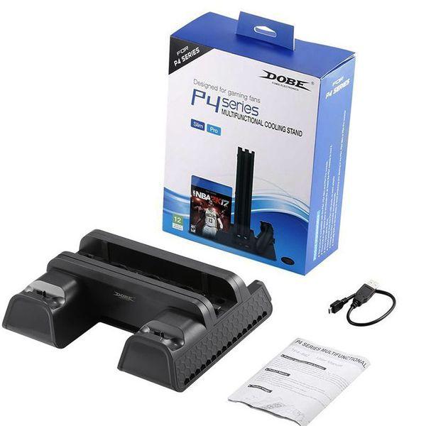 DOBE PS4 / PS4 Slim / PS4 PRO вертикальная подставка с охлаждающим вентилятором охладитель двойной контроллер зарядное устройство зарядная станция для SONY Playstation 4