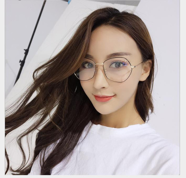 Men and women's flat glasses, radiation-proof mobile phone glasses, metal frames to prevent myopia goggles