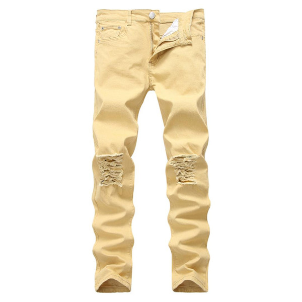 High Quality Male Distressed Jeans Casual Slim Ripped Denim Jeans Destroyed Trousers Men Black White Red Grey Khaki Plus Size 42