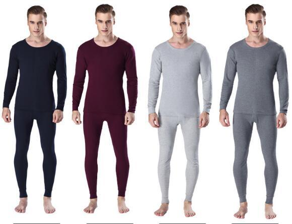2pcs Hot Men's Thermal Underwear Suits Top Bottom Keep Warm Autumn Cotton Undershirt Youth V Round Neck Thin Winter Sweater 1 Set