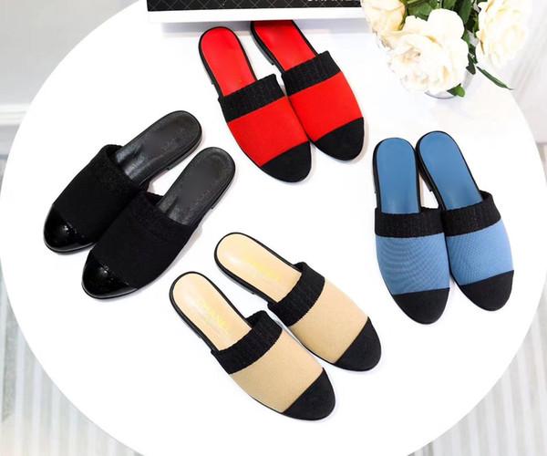 2019 Sıcak satış kadın moda düz terlik kızlar yaz rahat tuval düz floplar bayan düz ayakkabı yuvarlak ayak sandalet slaytlar boyutu 35-40 # C11