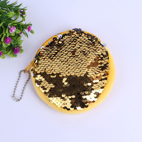 New Sequin Coin Bag Wallet Change Coin Purse Zip Clutch Card Holder Handbag Round Shape Soft for Lady Girls