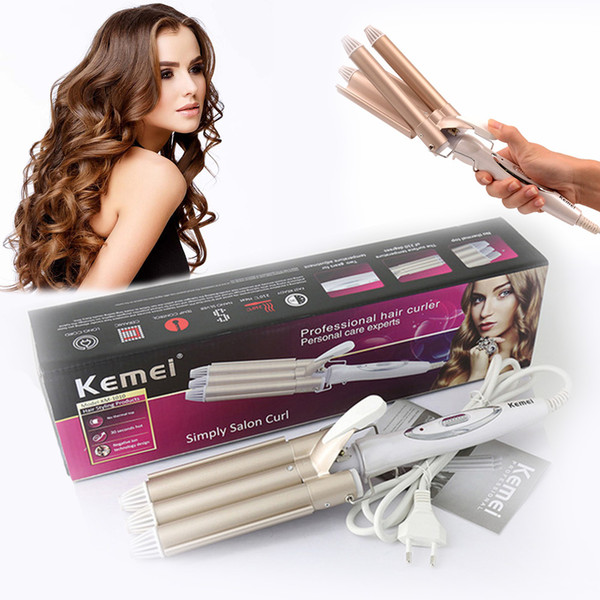 top popular Kemei curling professional hair and styling tool wave curling iron 2021