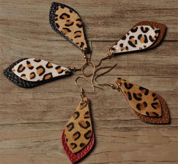 60 pair Leopar deri küpe Bohemia leopar çift katmanlı küpe R370 bırakır