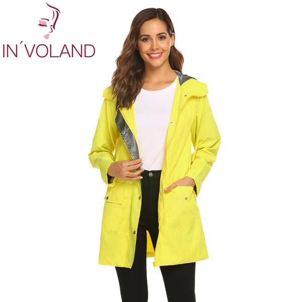 Women Fashion Hooded Long Sleeve Solid Pockets Raincoat Casual Height 176cm, Bust 88cm, Waist 59cm, Hip 90cm