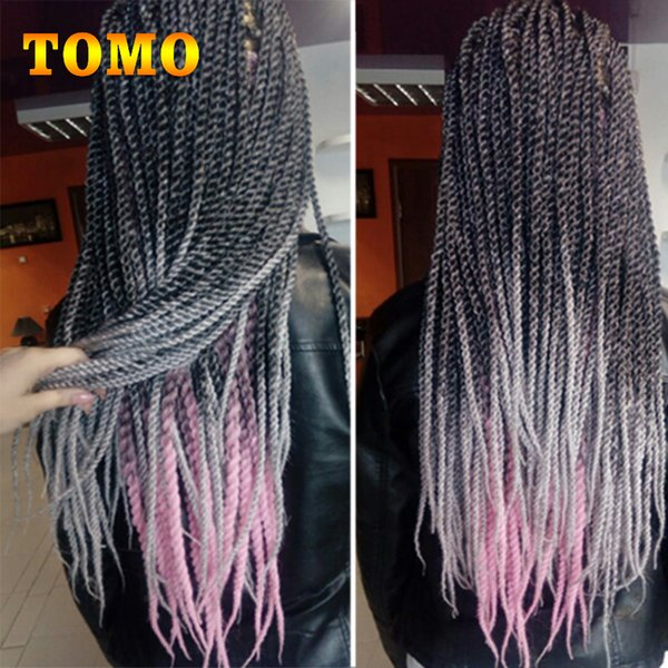 TOMO Senegalese Twist Braid Hair Synthetic Crochet Braids Pure/Ombre Grey Brown Mixed Braiding Hair Extensions For Black Woman 22Roots/Pack