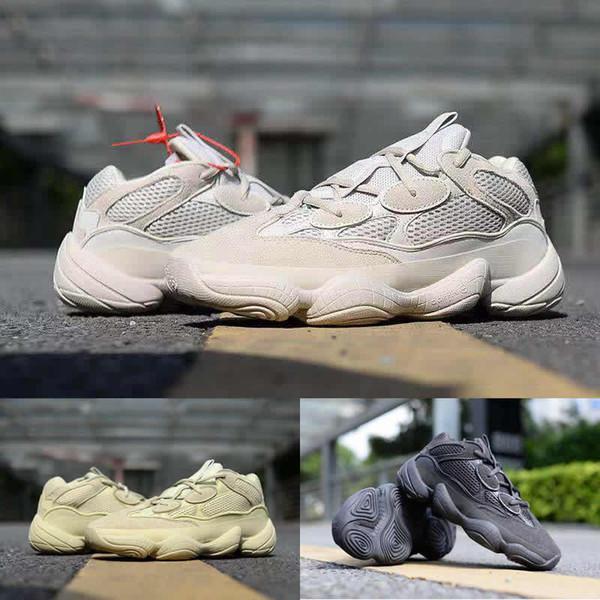 2019500svendimia rubor corredor de la onda Sal untility Negro Botas Luna amarilla Kanye West diseñador de zapatos atléticos de la zapatilla de deporte casuales con la caja