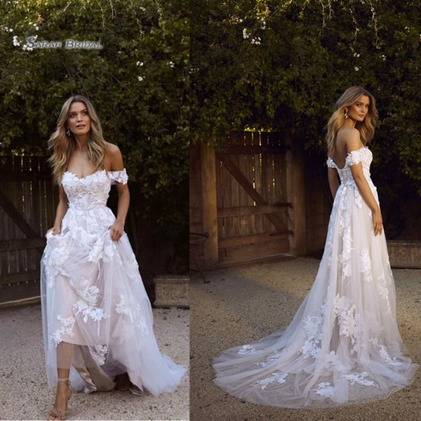 best selling 2019 White Off Shoulder Sweep Tulle Bride Dress Appliques Sleeveless A-line Wedding Bridal Gown High-end Wedding Boutique