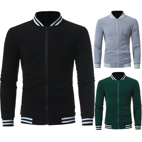 Men's attractive Autumn Winter Warm Casual Body-shaped Zipper Long Sleeve Jumper Jacket Coat Top Blouse Fashion Luxury Gift