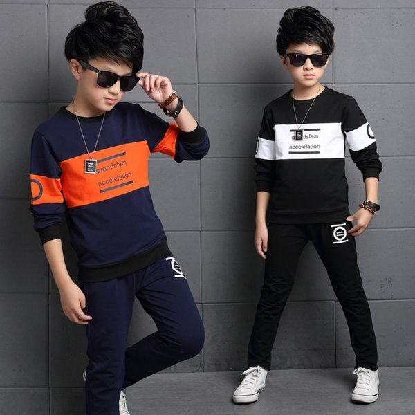 Boys Sets Autumn Sport Suits Big Boys Alphabet Kids Track Sets Black Gray Color 4-12 14 Ages Girls Clothes 10 12 Year