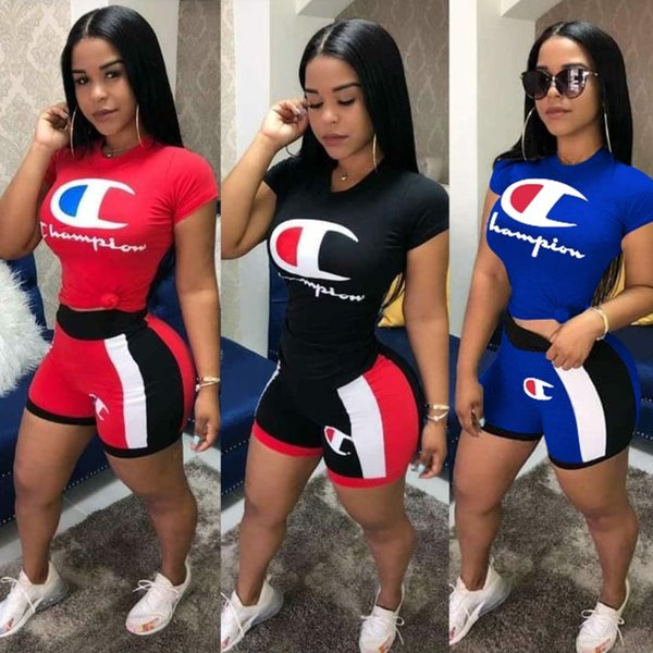 best selling Champion women designer tracksuit short sleeve outfits shirt pants 2 piece set skinny shirt short tights sport suit pullover pants klw1011