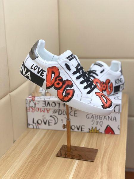 2019w yaz yeni high-end marka deri erkek ayakkabı kişiselleştirilmiş baskı dekolte rahat düz ayakkabı, moda vahşi spor ayakkabı, boyutu: 38-44