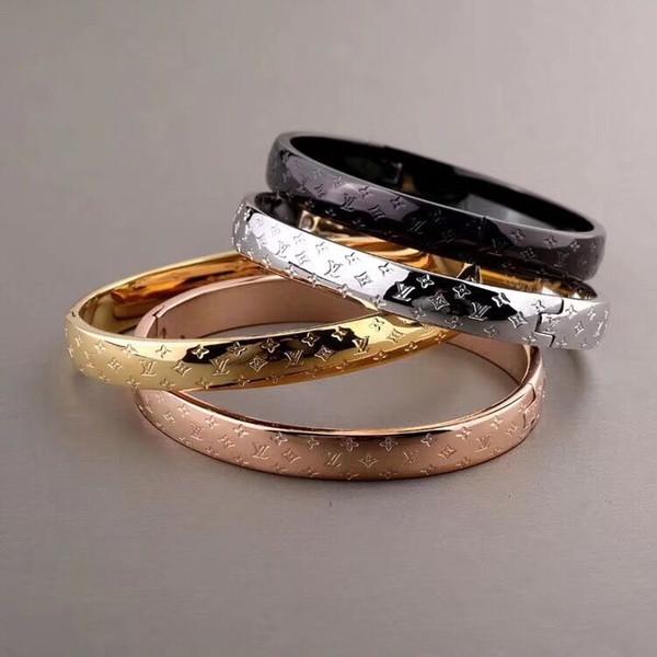 luxury designer jewelry women bracelets Top Quality Gold/Silver/Rose Gold Bangles Black Gold Plated bracelet Stainless Steel Bracelets
