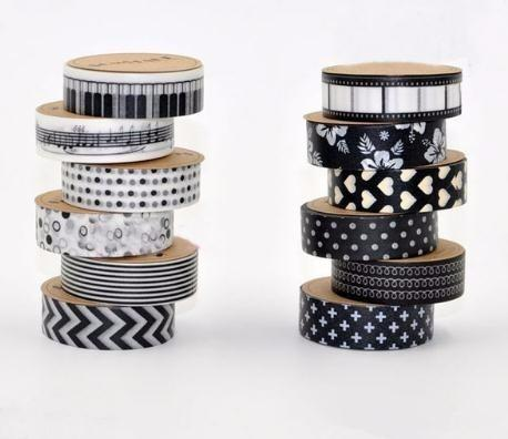 15mm * 10m Black and White Adhesive Tapes Washi Tape Decorative Tape DIY Scrapbook Paper Photo Album Tape