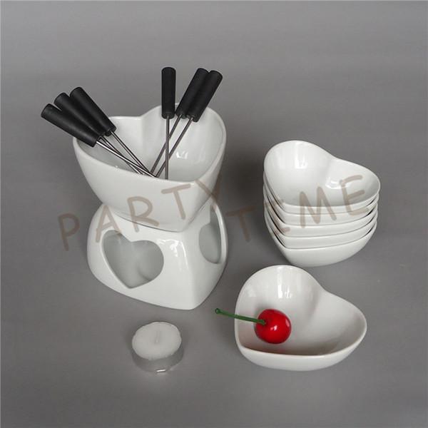 Eco-Friendly ceramic cioccolato Fonduta Set a forma di cuore di formaggio Warmer piatto di frutta
