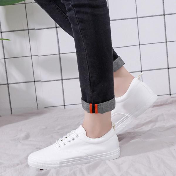Hot Sale Men's Canvas Shoes Fashion Autumn Black White Men Casual Shoes Lace-up Breathable Men Sneakers size 39-44 Dec3