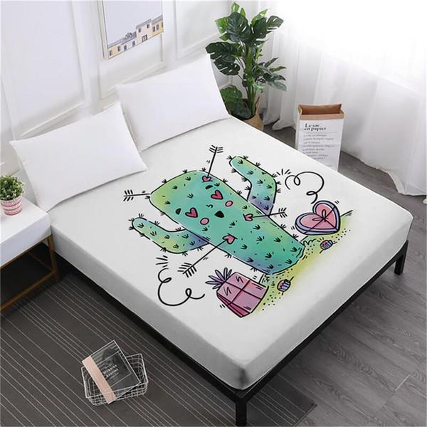 Green Cactus Bed Sheet Cartoon Fitted Sheet Twin Full King Queen Bedding Deep Pocket Kids Bedroom Decor Bedclothes D45