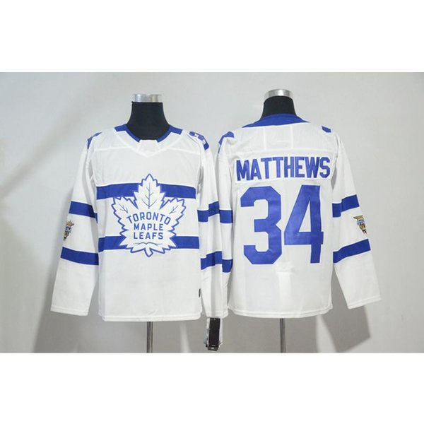 Mens Toronto Maple Leafs 100th Anniversary Auston Matthews Home Away Blue White Style Hockey Jersey