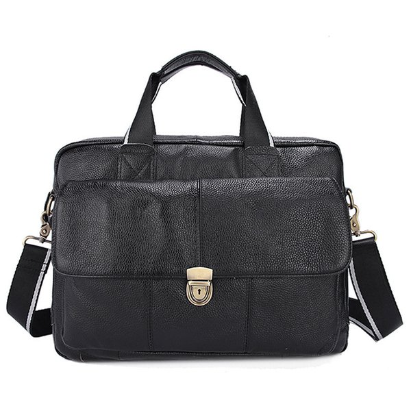 Genuine Leather Business Mens Briefcases Laptop Bags Messenger Bag Men's Shoulder Bag male leather bags briefcase naturally