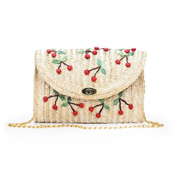 Женская соломенная сумка через плечо Вязаная сумка через плечо Вишневый клатч Летняя пляжная сумка Fa $ 3 Женская сумка