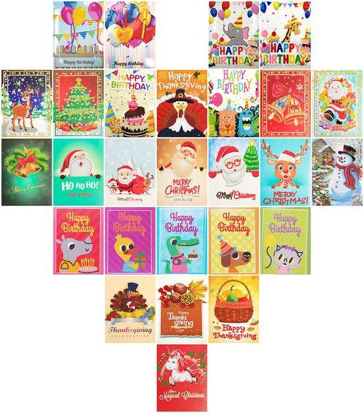 wholesale DIY Diamond Painting Birthday Cards Paper Cartoon Diamond Embroidery Children's Handmade Happy Birthday Postcard Gift